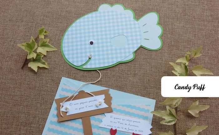 convites de aniversário peixe com anzol
