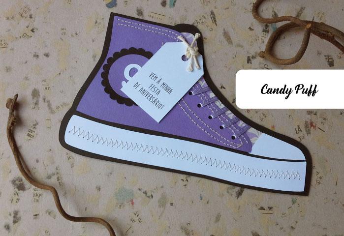 convite de aniversário sapatilha lilás