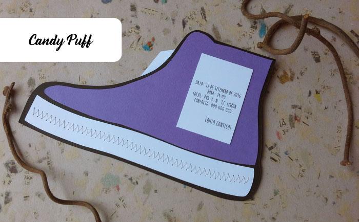 convite sapatilha lilás para aniversário