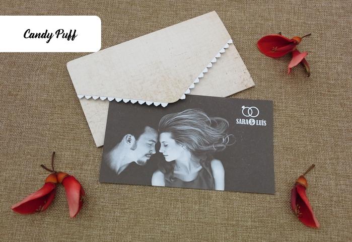 Convite para casamento inspirado num postal vintage