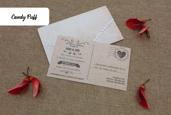 Convites de casamento postal vintage