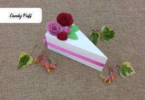 Embalagem fatia de Bolo com Rosas