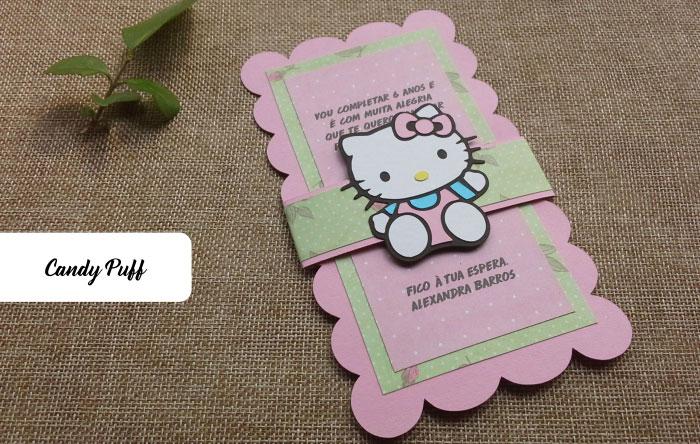 Convite de Aniversário para meninas com a personagem Hello Kitty