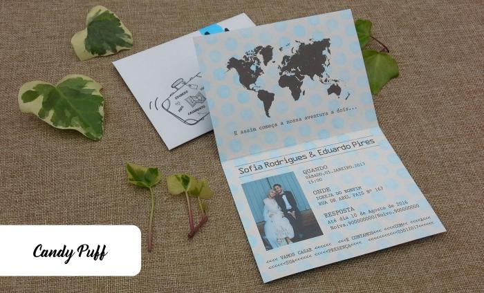 Convites de casamento inspirados num Passaporte