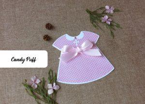 Convites de Batizado Menina com a forma de um vestido cor-de-rosa