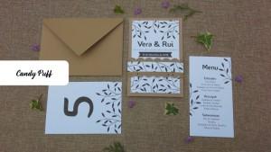 Convite de Casamento Rústico com Ementa e Marcador de Mesa