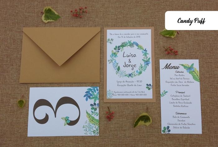 Convite de Casamento Rústico, Ementa e marcador de Mesa