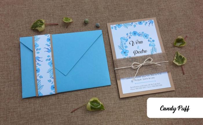 Convite de Casamento Azul Floral
