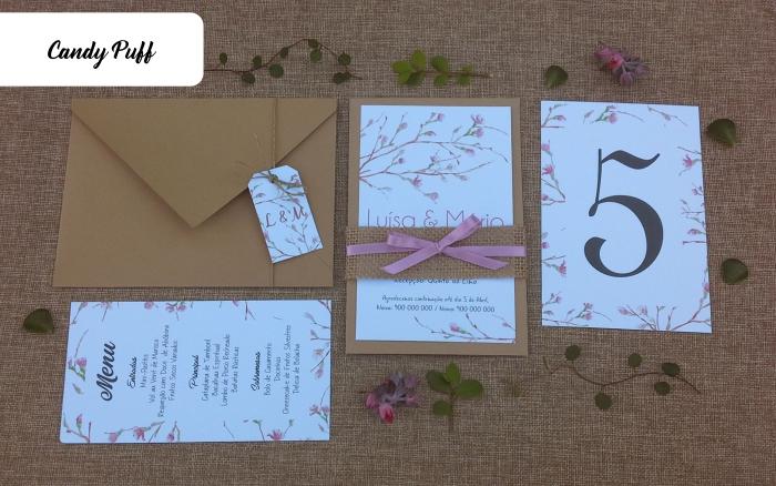 Convite, ementa e marcador de mesa para Casamento