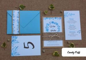 Convite de Casamento Azul Rústico