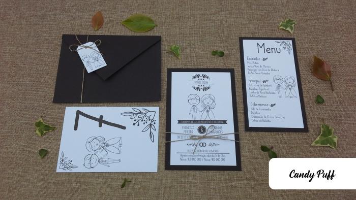 Convite para Casamento, Ementa e Marcador de Mesa