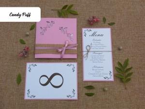 Convite de Casamento,ementa e marcador de mesa em cor-de-rosa