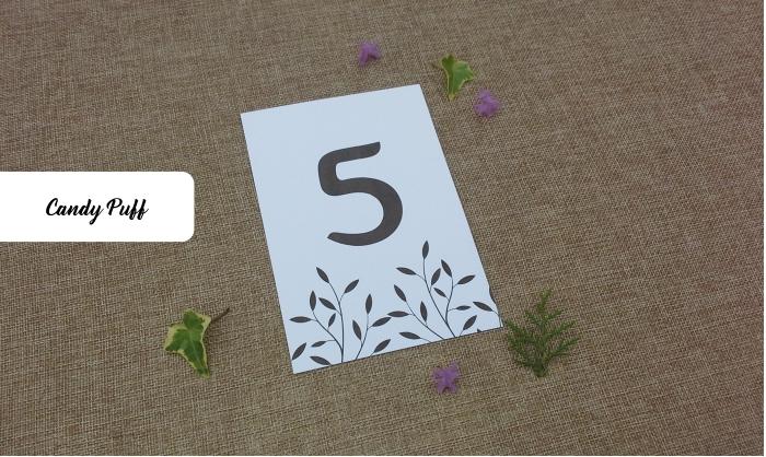 Marcador de Mesa para casamento com ilustração de folhas