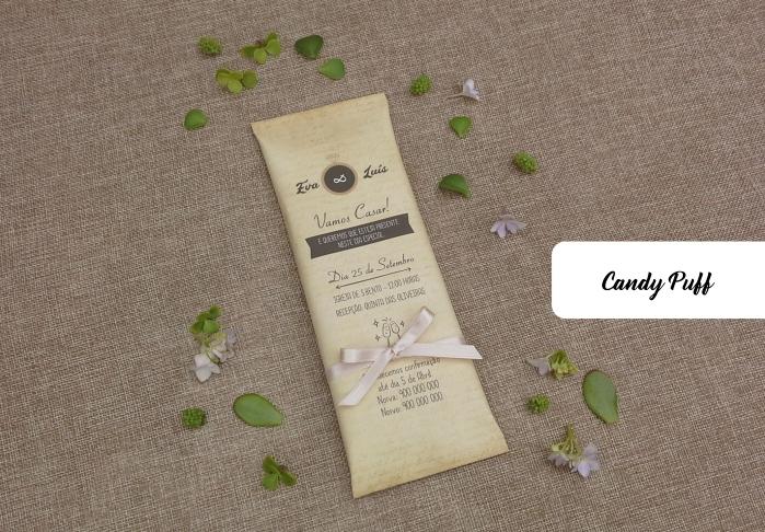 Embalagem com Tablete de Chocolate para Casamento