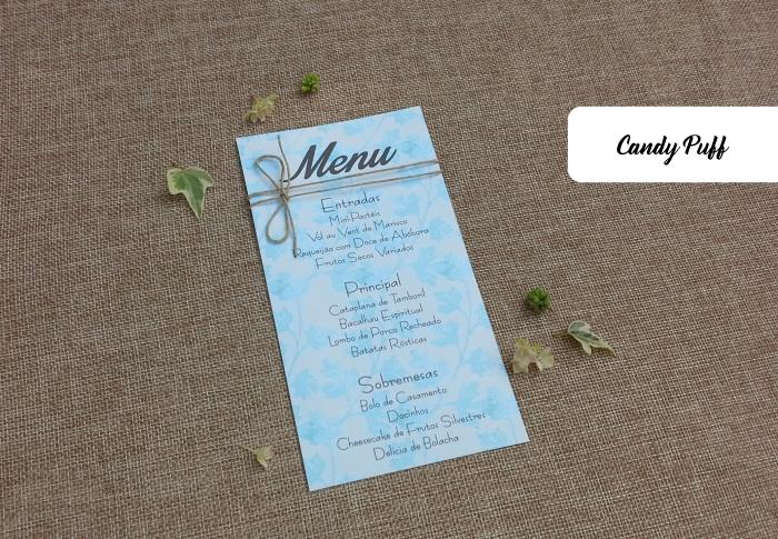 Ementa para Casamento com um tema floral