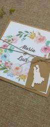convite de casamento floral rústico