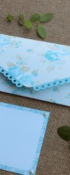 Envelope Floral Azul para Mensagem