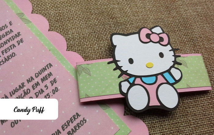 Detalhe de Convite de Aniversário Hello Kitty