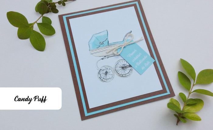 Convite com carrinho de bebé azul para Batizado