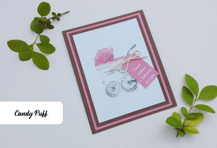 Convite com carrinho de Bebé cor de rosa para batizado