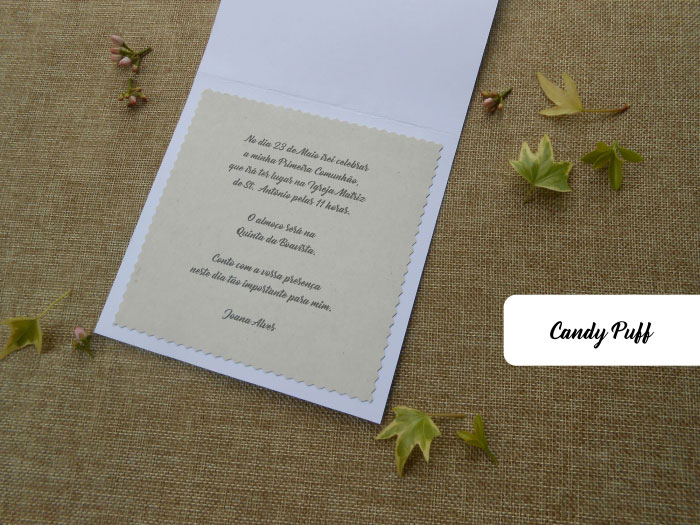 interior de convite floral para comunhão