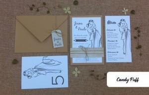 Convite para casamento com ilustração de noivos