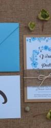 Convite, Ementa e Marcador de Mesa em azul