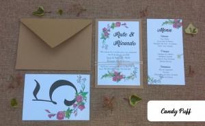 Convite de Casamento Floral, Ementa e Marcador de Mesa