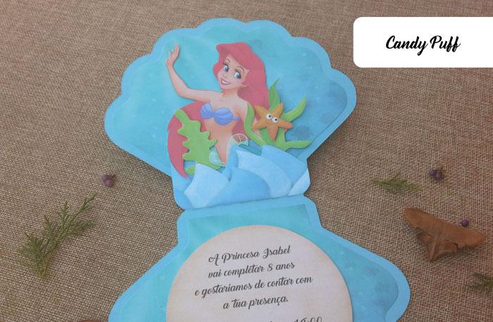 Convite Ariel a Pequena Sereia