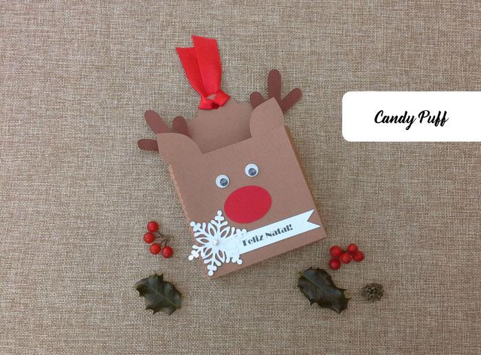 Embalagem criativa inspirada na Rena Rudolfo para Guloseimas de Natal