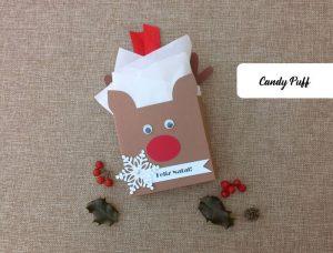 Lembranças de Natal para Crianças que consiste numa Embalagem para guloseimas com a forma de um Rena