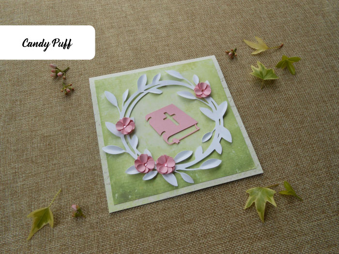 Convite Primeira Comunhão com um tema floral para menina