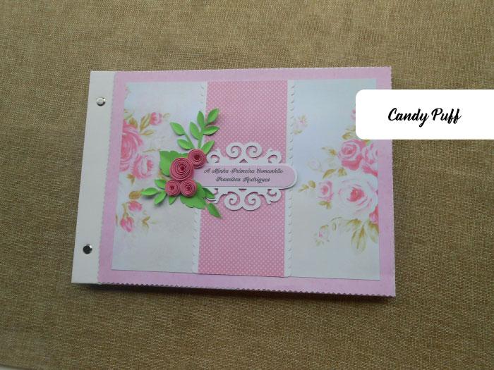 Livro de honra original para comunhão de menina com um tema floral