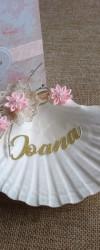 Lembrança de Batizado Concha Floral Rosa