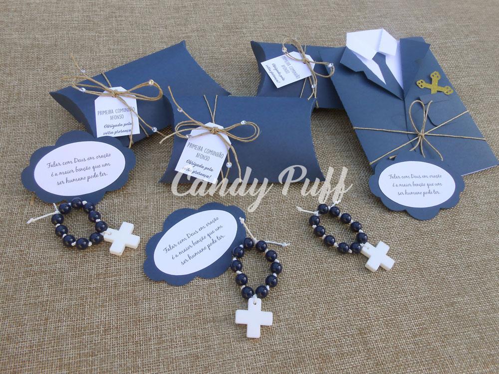 Convite para Primeira Comunhão em Azul Marinho