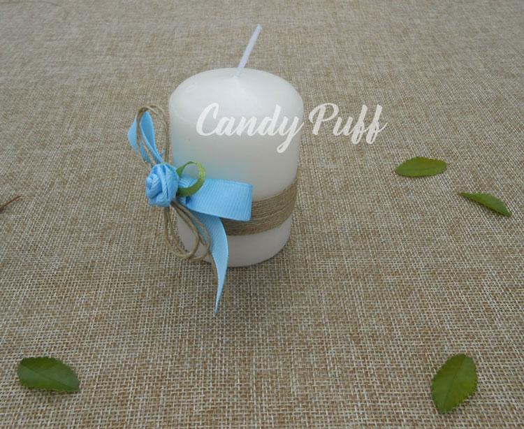vela floral azul lembrança batizado