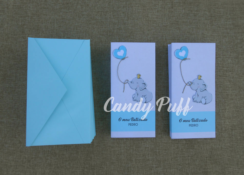 convites de batizado elefante azul