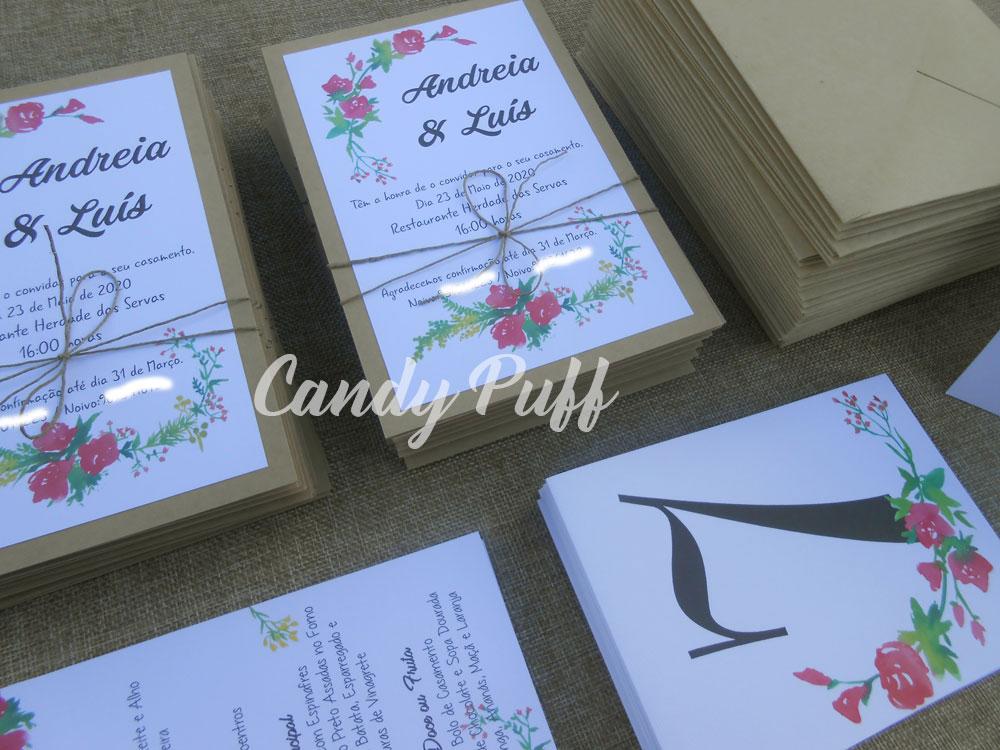 convites de casamento, ementas e marcadores de mesa
